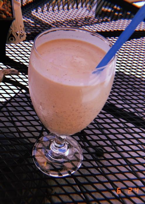 Homemade peanut butter milkshake that tasted better than it looks.